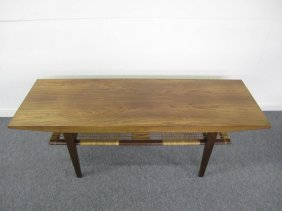 Excellent Danish Modern Rosewood Rattan Coffee Table