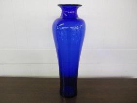 Large Cobalt Blue Blenko Vase Mid-century Modern