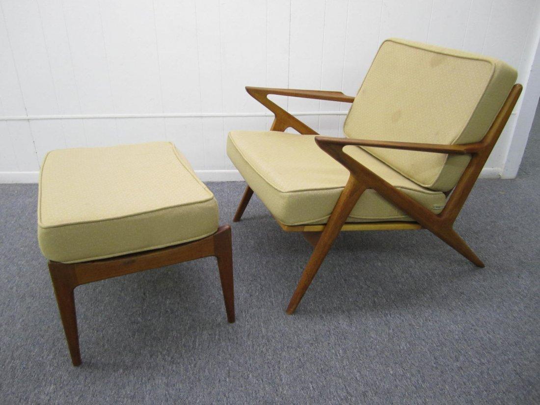 Poul Jensen Teak Z Arm Lounge Chair Plus Ottoman