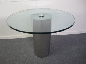 Pace Collection Small Chrome Cylinder Dining Table