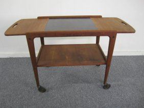 Danish Modern Teak Rolling Bar Cart