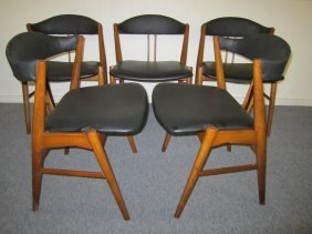 Lovely Set Of 5 Danish Modern Dining Chairs