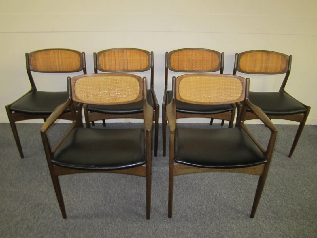 Danish Modern Selig Walnut Caned Back Dining Chairs