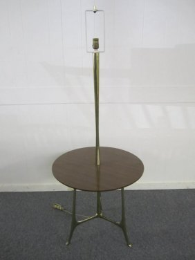 Stylish Paul Mccobb Style Laurel Brass Lamp Table