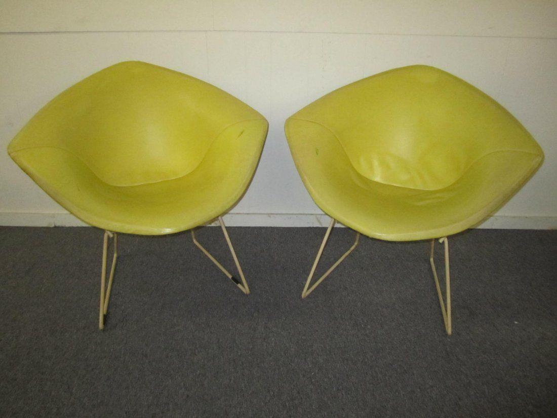 Pair Vintage Harry Bertoia Knoll Diamond Chairs