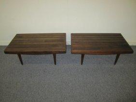 Petite Pair Danish Modern Walnut Slat Benches