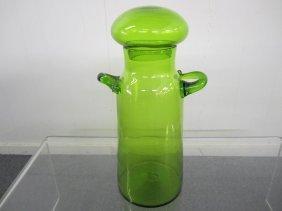 Mid-century Modern Large Green Blenko Decanter