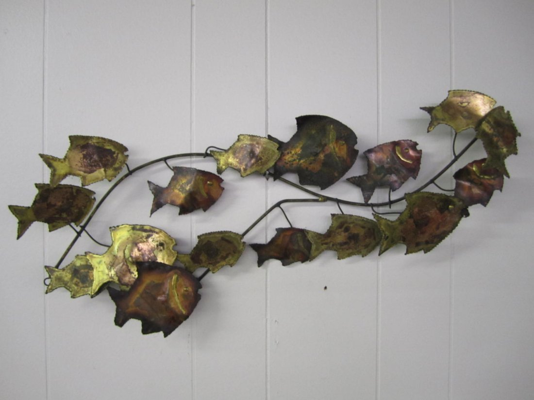 C. Jere style Brass Swimming Fish Wall Sculpture