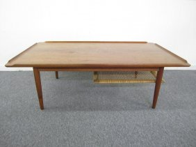 Stunning Danish Modern Rolled Edge Teak Coffee Table