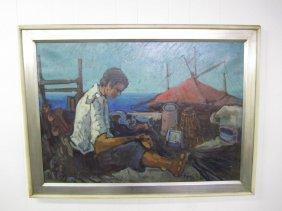 Mid-century Modern Signed 'maggi' 72 Oil Painting