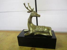 Chapman Style Regency Modern Brass Deer Lamp