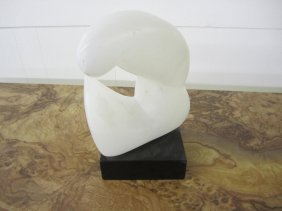 Modern Abstract White Marble Sculpture