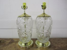 Pair Waterford Style Cut Crystal Brass Table Lamps