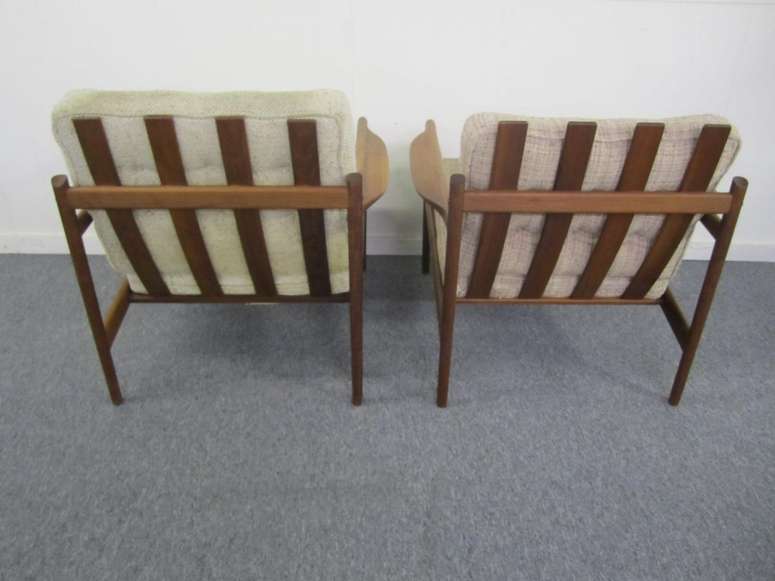 Pair Danish Koefod Teak Selig Slat Back Lounge Chairs