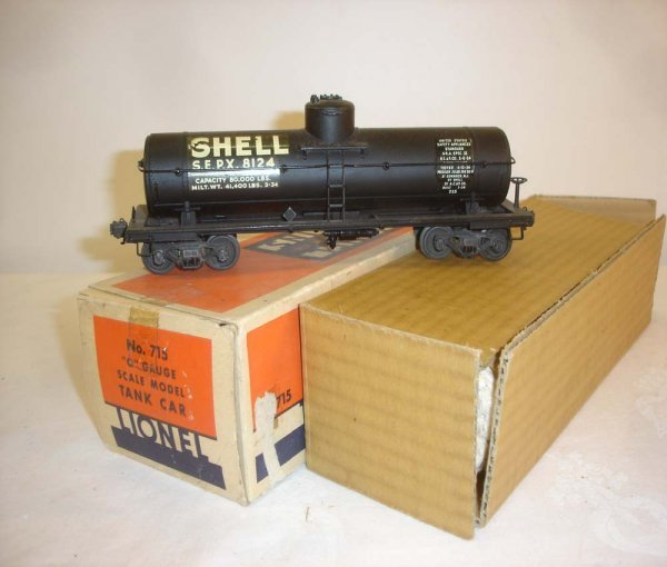 2: ABT: Lionel #715 Shell Scale Tank Car/Nice OB+