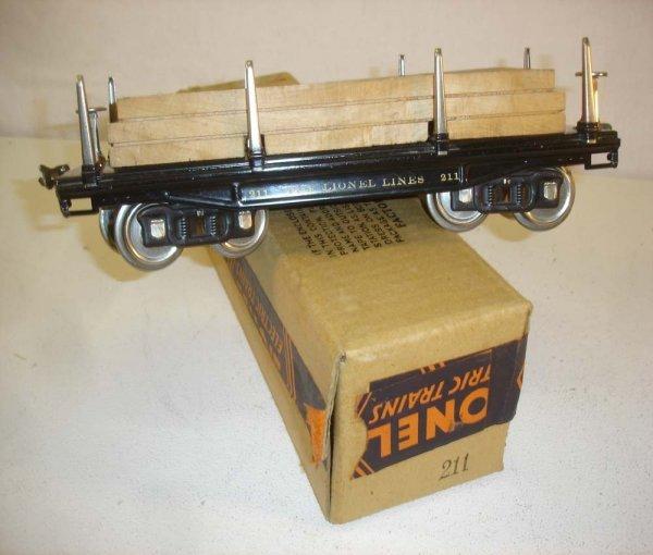 13: ABT: Nice Lionel #211 Black Flat Car/Brick OB