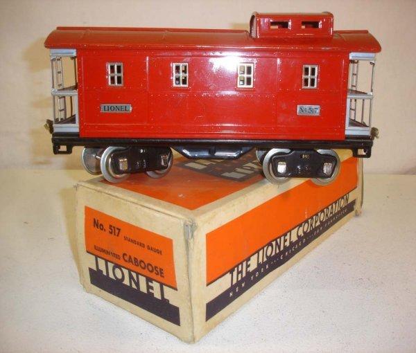 18: ABT: Lionel #517 Red/Nickel Caboose/OB