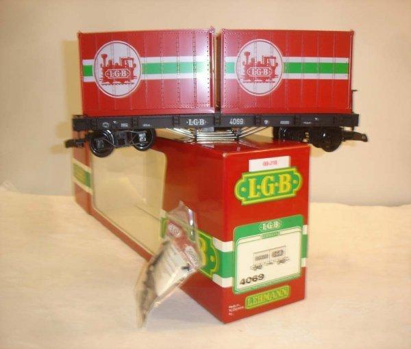 298: ABT: LGB #4069 Black Flat w/LGB Containers/OB