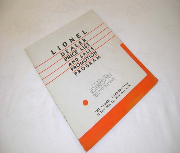 351: ABT: Rare 1932 Lionel Dealer Price List and Sales