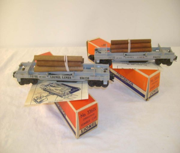 711: ABT: 2 Lionel #3361X Operating Log Cars/56+ Obs