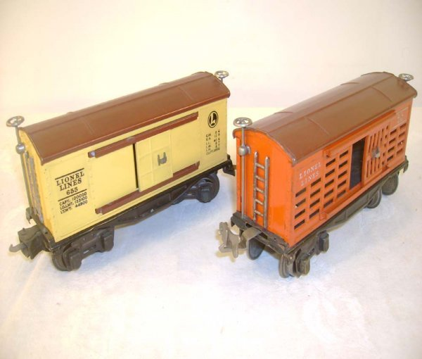 449: ABT: Lionel #655 BoxCar/#656 Cattle RS Cars