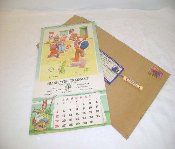 730: ABT: Frank the Trainman 1958 Calendar & Hertz Env