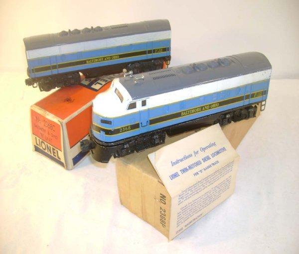 510: ABT: Lionel #2368P/C B&O F-3 AB Diesels/ OBs+