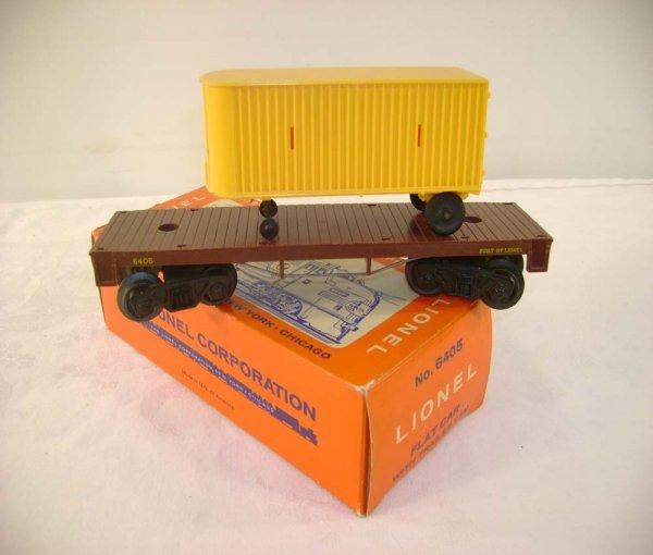 707: ABT: Lionel #6405 Flat Car w/Yellow Trailer/Brick