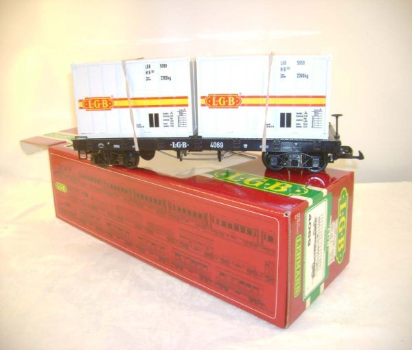 272: ABT: LGB #4069 Flat Car with Two Containers/OB