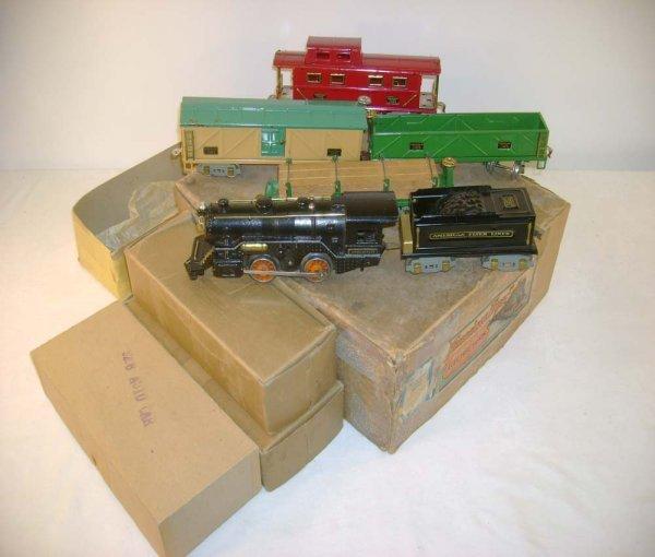1045: ABT: AF O Gauge 1930s Steam Freight Set/ Obs