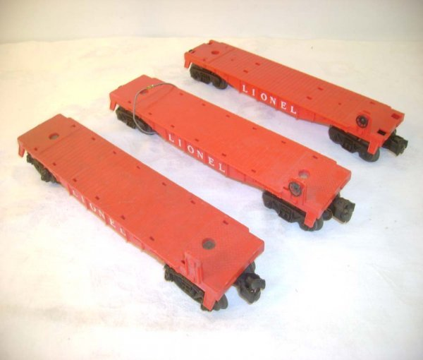 4: ABT: 3 Lionel #6511/6424 Red Flat Cars