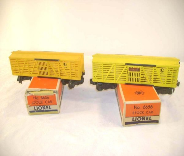 1256: ABT: Two Lionel #6656 Armour Cattle Cars/Obs