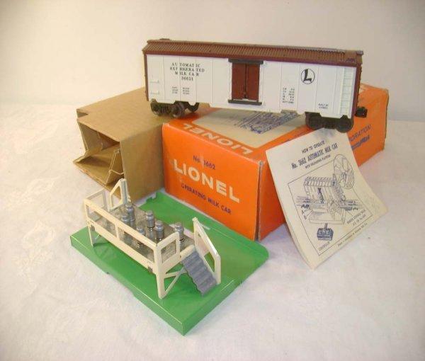 308A: ABT: Lionel #3662 Operating Milk Car Set/ Pix OB+