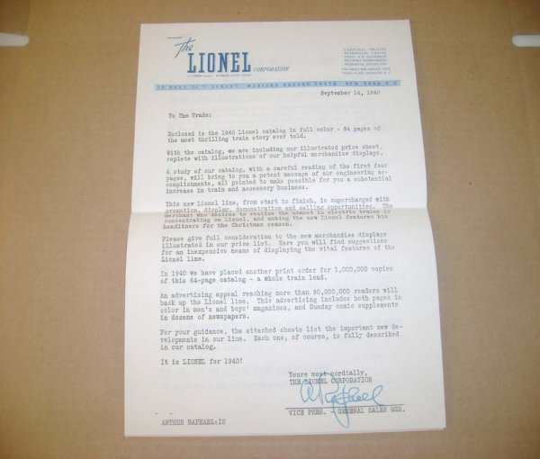 11: ABT: 1940 Lionel Letter To The Trade/Arthur Raphael