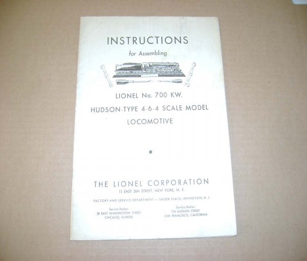 14: ABT: 1938 Instructions for Lionel No. 700 KW Hudson