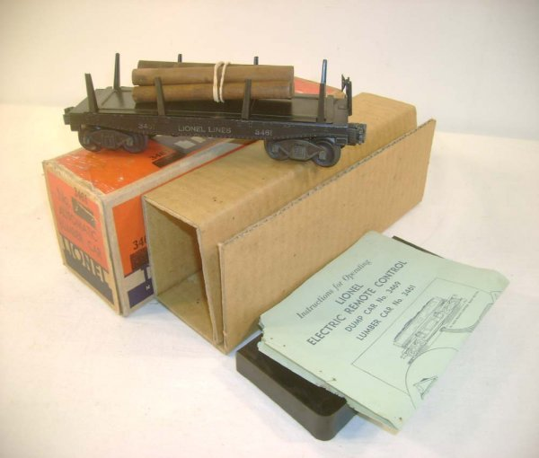 15: ABT: Lionel Rubber-Stamped #3461 Log Car/OB+