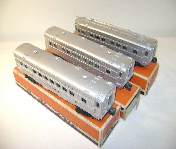 813: ABT: Lionel #2421/2/3 Silver/Silver Passenger Cars