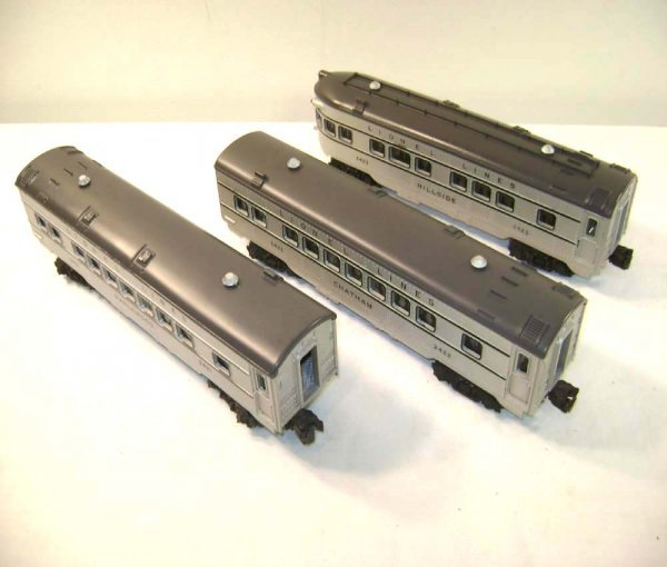 9: ABT: Lionel #2421/2/3 Silver/Silver Passenger Cars