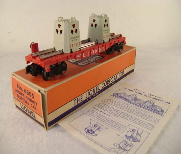 801: ABT: Lionel #6805 Flat Car with AEC Canisters/58B