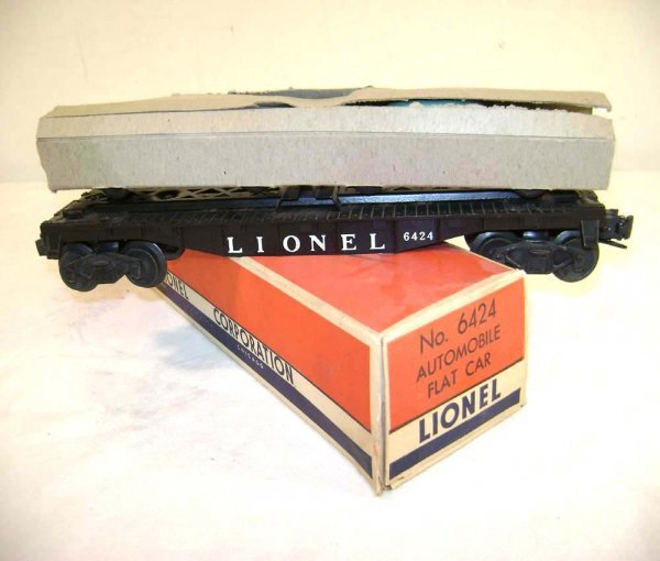 806: ABT: Lionel #6424 Auto Flat Car/Sleeves/Nice OB+
