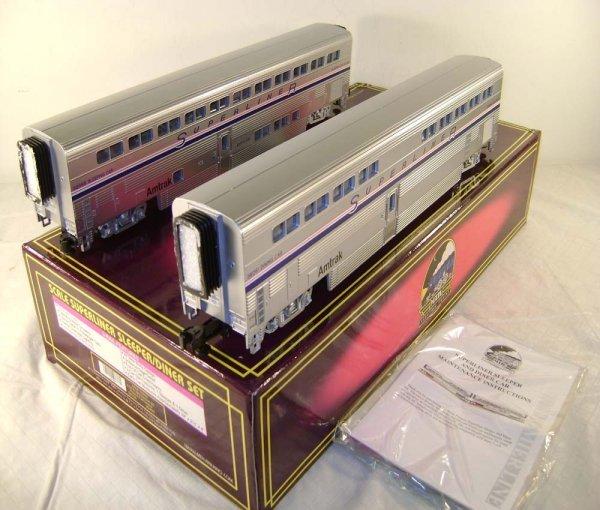 412: ABT: Mint MTH #20-6541 Amtrak Five Stripe 2 Car Su
