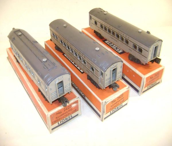 235: ABT: Lionel #2421/2/3 Silver/Gray Pass Cars/Obs