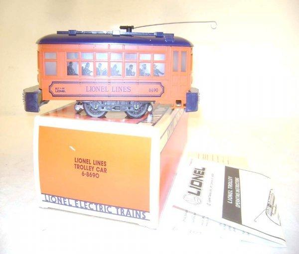 19: ABT: Mint Lionel #8690 Orange/Blue LL Trolley/OB