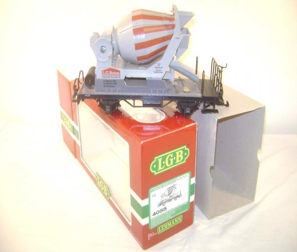 13: ABT: LGB G Scale #4055 Flat Car with Cement Mixer/O
