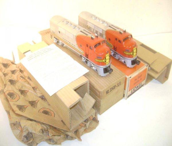 10: ABT: Mint Lionel #2343 Santa Fe F-3 AA Diesels/OBs