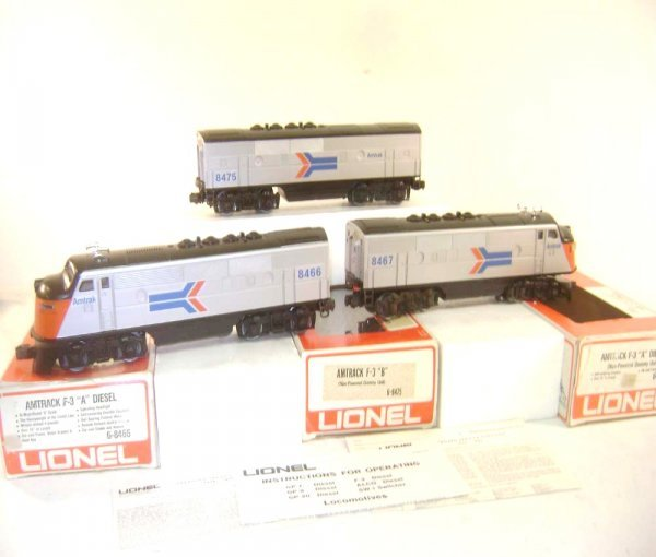 10: ABT: Nice Lionel #8466/#8467/#8475 F-3 ABA Amtrak D