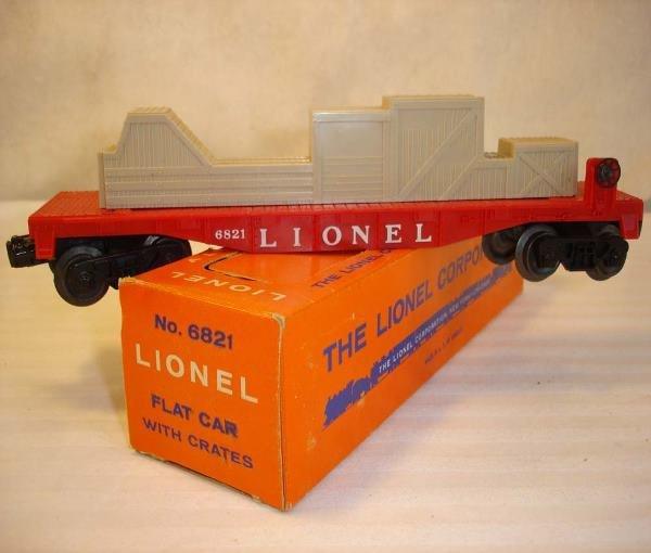 14: ABT:Mint Lionel #6821 Flat Car with Crates/Brick OB