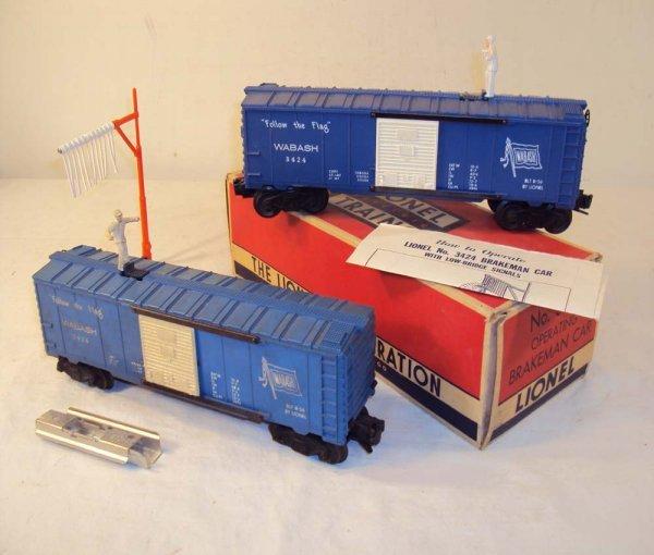 3: ABT: 2 Lionel #3424 Wabash Brakeman Cars/OB+
