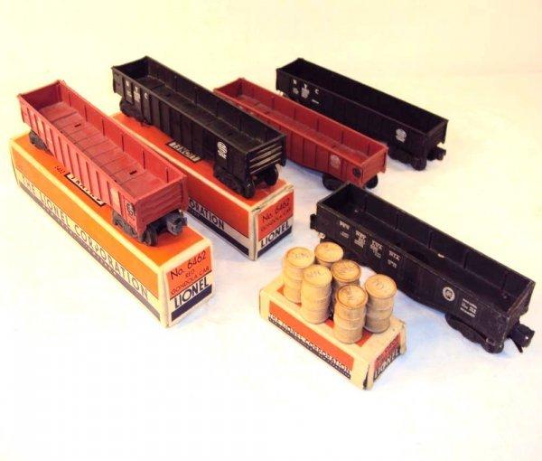 14: ABT: 4 Lionel #6462 & #2452 Gondolas & #0209 Barrel