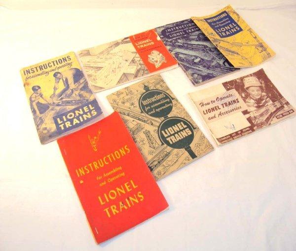 23: ABT: 7 Assorted Lionel Post War Instruction Manuals